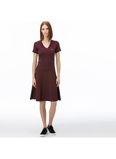 Lacoste Kadın V Yaka Elbise EF0059.59R Bordo
